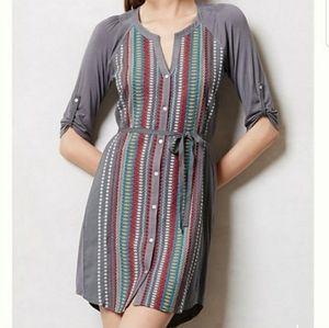 ANTHRO TINY Pima Embroidered Button Shirt Dress M